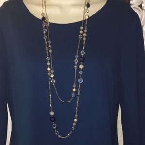 NWOT ANN TAYLOR GOLD DOUBLE STRAND NECKLACE